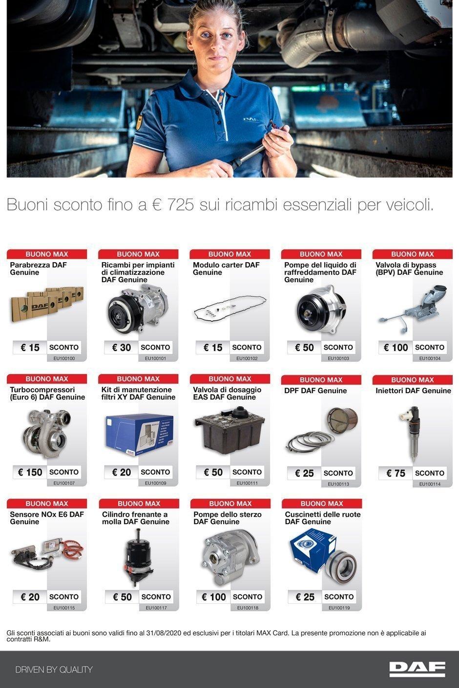 Buoni sconto fino a 725€ ricambi essenziali per veicoli industriali